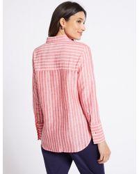 Marks & Spencer Pink Linen Rich Striped Long Sleeve Shirt