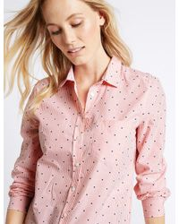 Marks & Spencer Pink Pure Cotton Embroidered Spot Striped Shirt