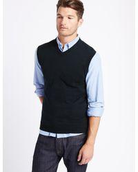 Marks & Spencer - Black Pure Cotton Slipover Jumper for Men - Lyst