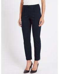 Marks & Spencer - Blue Slim Leg Flat Front Trousers - Lyst