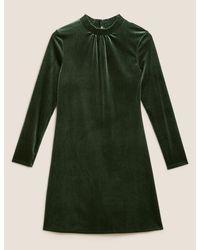 Marks & Spencer Green Velvet Shirred Neck Swing Dress