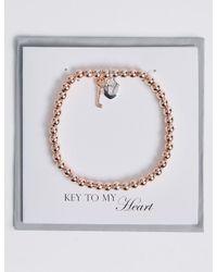 Marks & Spencer - Metallic Heart & Key Bracelet - Lyst
