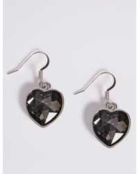 Marks & Spencer - Multicolor Glass Stone Heart Drop Earrings - Lyst