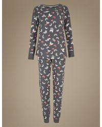 Marks & Spencer Gray Cotton Rich Printed Pyjamas