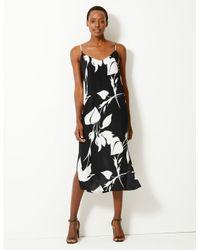 Marks & Spencer Black Printed Slip Midi Dress Ivory Mix