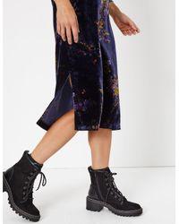 Marks & Spencer Blue Velvet Floral Print Slip Midi Dress