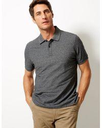 Marks & Spencer Gray Pure Cotton Polo Shirt for men
