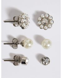 Marks & Spencer - White Pearl Effect & Dainty Diamanté Stud Trio Earrings Set - Lyst