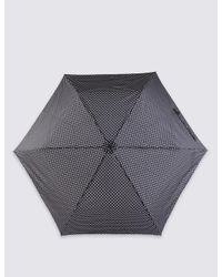 Marks & Spencer - Black Mini Polka Dot Compact Umbrella With Stormweartm - Lyst