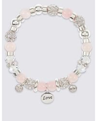 Marks & Spencer - Multicolor Sparkle Heart Charm Stretch Bracelet - Lyst