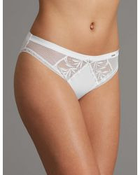 Marks & Spencer - White Embroidered High Leg Knickers - Lyst