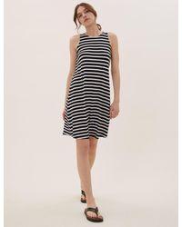 Marks & Spencer Black Jersey Striped Mini Swing Dress