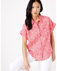 Marks & Spencer Pink M&s Collection Pure Linen Floral Short Sleeve Shirt