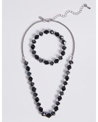Marks & Spencer - Metallic Assorted Multi-faceted Sparkling Bead Necklace & Bracelet Set - Lyst