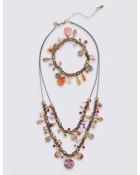Marks & Spencer - Metallic Charm Droplet Necklace & Bracelet Set - Lyst