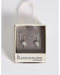 Marks & Spencer - Metallic Platinum Plated Heart Bezel Drop Earrings - Lyst