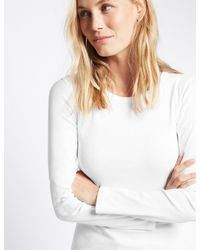 Marks & Spencer - White Pure Cotton Round Neck Long Sleeve T-shirt - Lyst