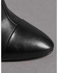 Marks & Spencer - Black Leather Stiletto Heel Toe Cap Ankle Boots - Lyst