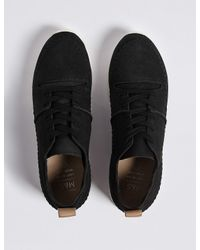 Marks & Spencer Black Suede Whipstitch Lace-up Trainers