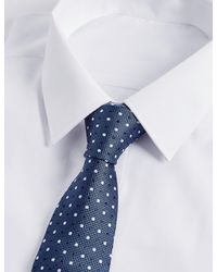 Marks & Spencer - Blue Pure Silk Spotted Tie for Men - Lyst