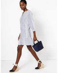 Marks & Spencer Multicolor Pure Cotton Striped Tiered Mini Swing Dress