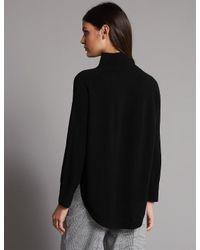 Marks & Spencer - Black Pure Cashmere Curved Hem Funnel Neck Jumper - Lyst