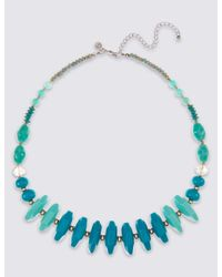 Marks & Spencer - Blue Resin Button Collar Necklace - Lyst