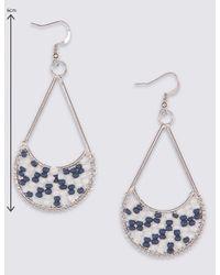 Marks & Spencer - Blue Seed Beaded Teardrop Earrings - Lyst