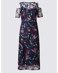 Marks & Spencer | Blue Floral Lace Cold Shoulder Skater Dress | Lyst