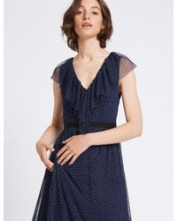 Marks & Spencer Blue Spotted Tulle Maxi Dress