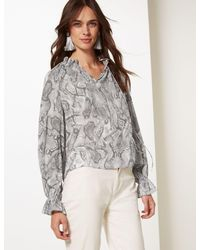 c07155b70a42db Marks & Spencer Animal Print Funnel Neck Long Sleeve Blouse in Gray ...