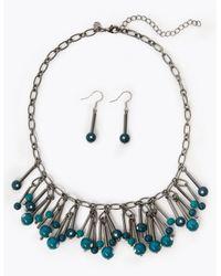 Marks & Spencer Blue Stick Bead Necklace & Earrings Set