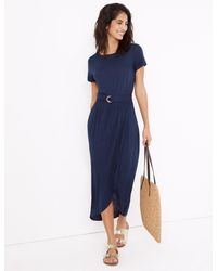Marks & Spencer Blue M&s Collection Jersey Belted Maxi Beach Dress