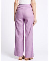 Marks & Spencer Purple Linen Blend Wide Leg Trousers