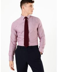 Marks & Spencer Purple Pure Cotton Non-iron Slim Fit Shirt Burgundy Mix for men