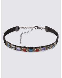 Marks & Spencer - Metallic Baguette Gem Choker Necklace - Lyst