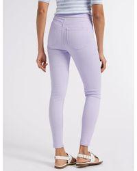 Marks & Spencer - Purple High Waist Super Skinny Jeans - Lyst