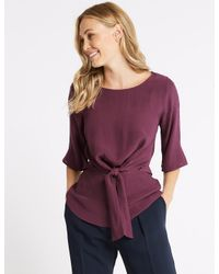 Marks & Spencer - Purple Tie Front Round Neck 3/4 Sleeve Blouse - Lyst