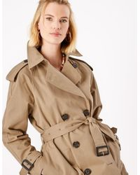 Marks & Spencer Natural M&s Collection Cotton Double Breasted Trench Coat