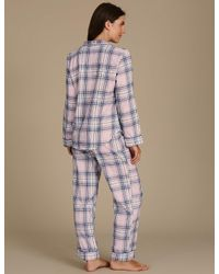 Marks & Spencer - Pink Pure Cotton Revere Collar Checked Pyjamas - Lyst