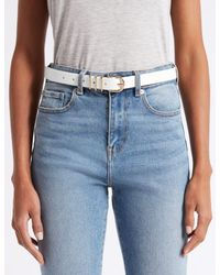 Marks & Spencer - White Faux Leather Metal Keeper Hip Belt - Lyst