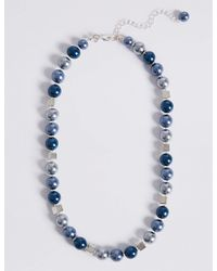 Marks & Spencer - Blue Square Mix Ball Necklace - Lyst