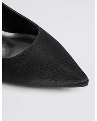 Marks & Spencer - Black Kitten Heel Slingback Court Shoes - Lyst