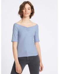 Marks & Spencer Blue Cotton Rich Ribbed Half Sleeve Bardot Top