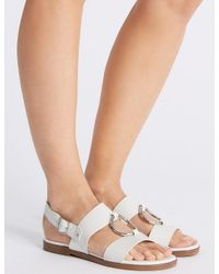 affordable price detailed look factory price Marks & Spencer Round Trim Sandals in White - Lyst