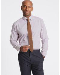 Marks & Spencer Multicolor Cotton Blend Non-iron Regular Fit Shirt for men
