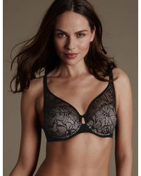 Marks & Spencer - Black Youthful Lifttm Lace Non Padded Full Cup Bra - Lyst