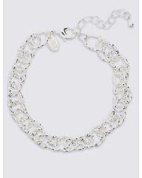 Marks & Spencer - Metallic Silver Plated Textured Link Bracelet - Lyst