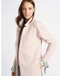 Marks & Spencer - Multicolor Textured Open Front Coat - Lyst