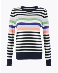 Marks & Spencer Blue Pure Cashmere Striped Jumper